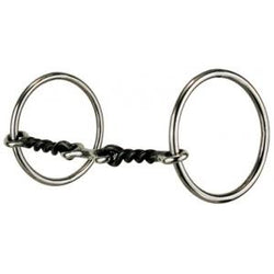 "#172 Medium Loose Ring – 3/8"" Medium 3-Piece, Twisted Wire Dog Bone Snaffle 1"