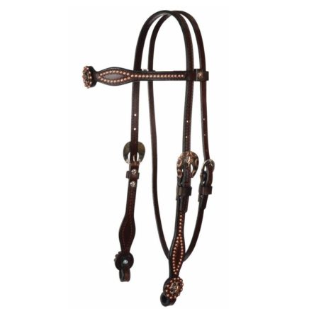 7132C BROWBAND HEADSTALL – COPPER STARS ON CHOCOLATE LEATHER