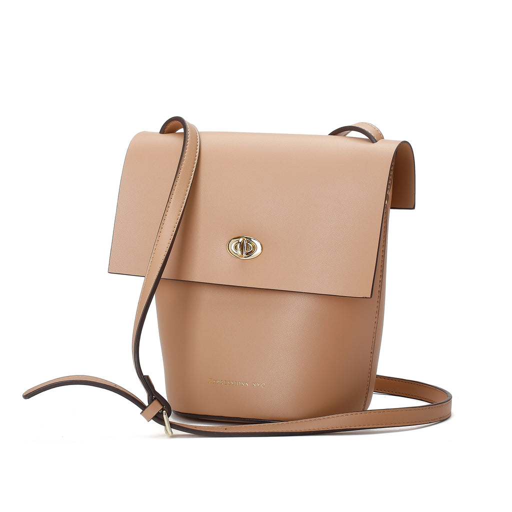 FULTON ST CAMEL FLAP CROSS BODY BAG