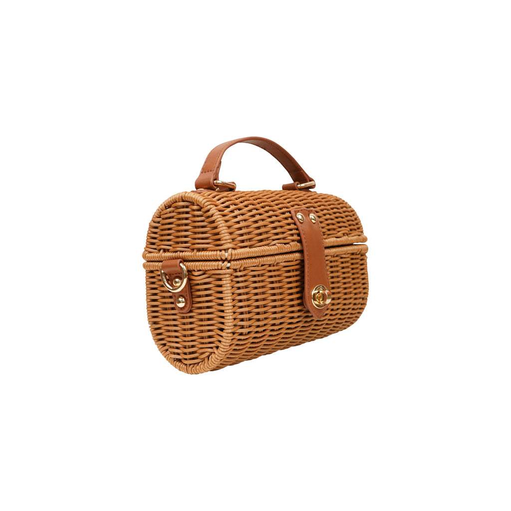 CENTRAL PARK RAFFIA CYLINDER CROSS BODY