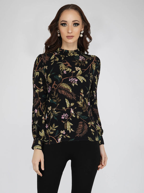 Wild Print Long Sleeve Blouse