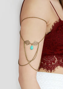 Turquoise Drop Bohemian Arm Chain - Missworldlondon