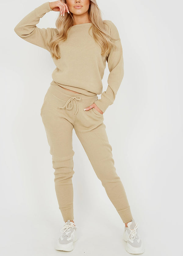 Long Sleeve Knitted Loungewear Co Ords Set in Beige