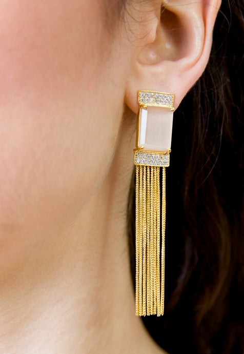 Beige Stone Gold Tassel Statement Cocktail Earrings - Missworldlondon