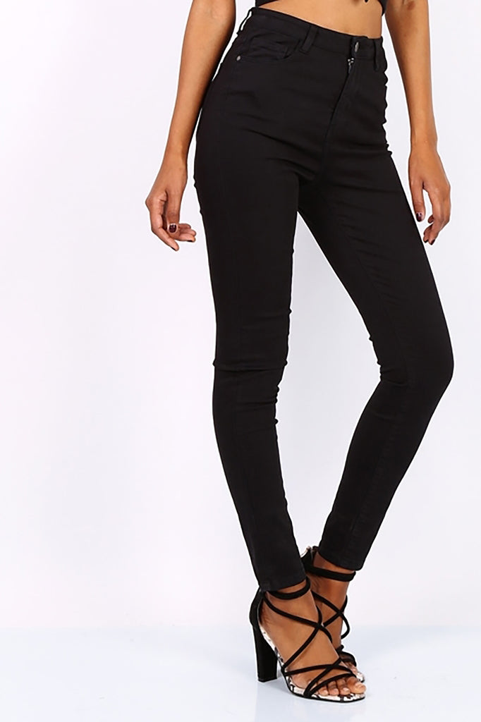 Black High Waisted Skinny Jeans - Missworldlondon