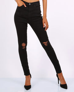 Black Ripped Skinny Jeans- High Waisted