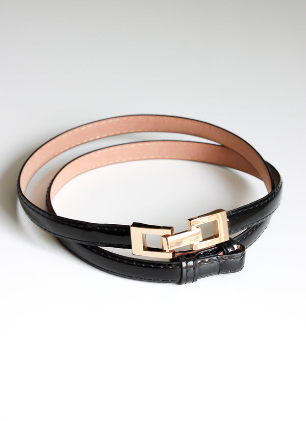 Black Skinny Belt With Gold Buckle - Missworldlondon
