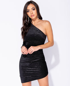 Black One Shoulder Asymmetric Mini Dress - Missworldlondon