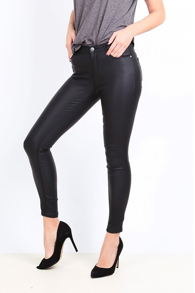 Black Coated Skinny Jeans - Missworldlondon