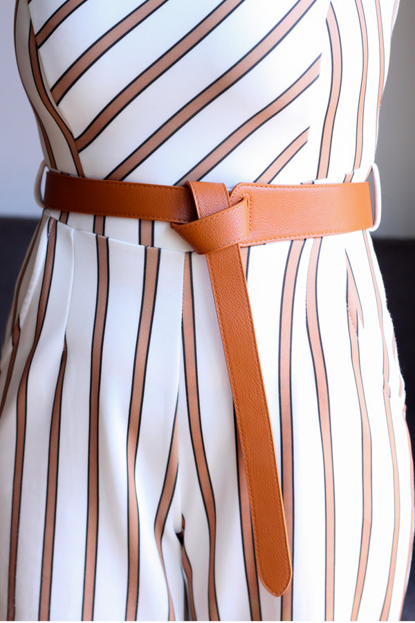 Front Knotted Caramel Brown Belt - Missworldlondon