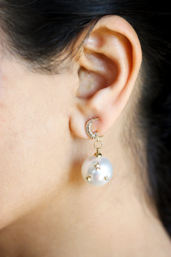 Star and Moon Pearl Drop Earrings - Missworldlondon