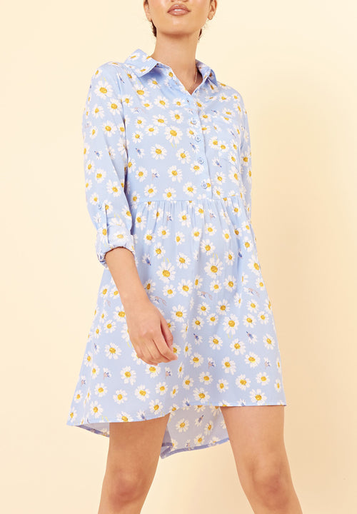 Daisy Print  Shirt Dress in Blue - Missworldlondon