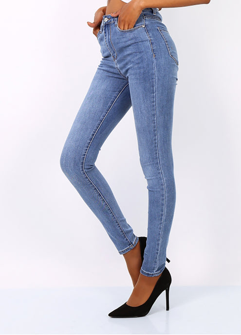 High Waisted Skinny Jeans in Denim Blue