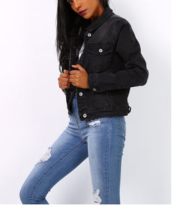Black lightweight denim Jacket - Missworldlondon