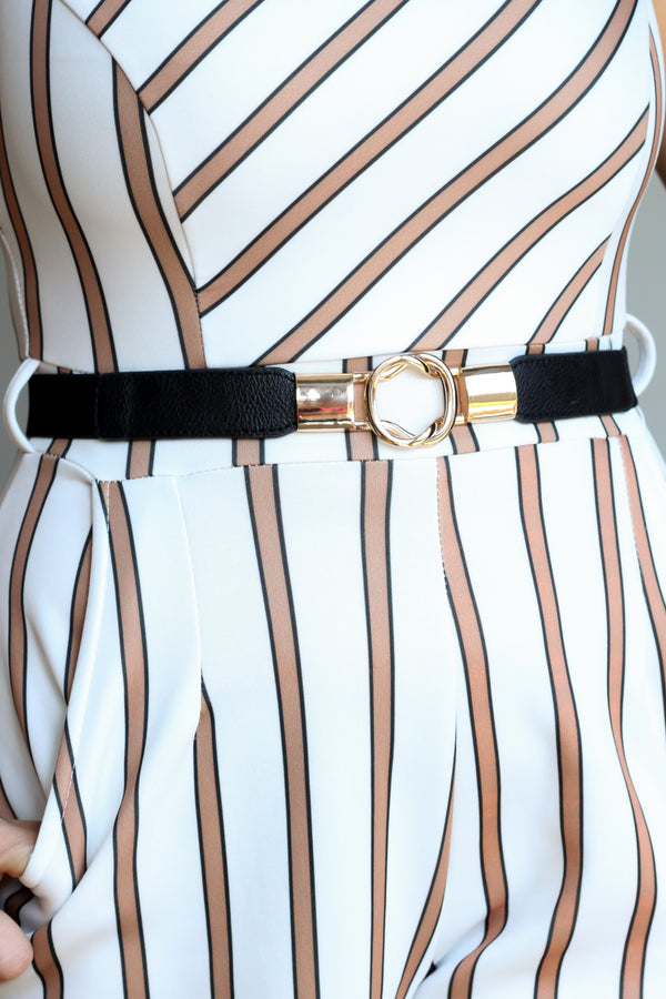 Black Elasticated Waist Belt With Loop Buckle