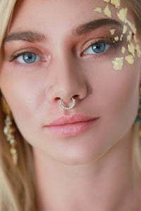 Gold Delicate Rhinestone Hoop Septum Nose Ring - Missworldlondon