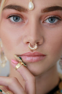 Gold Diamante Hoop Septum Nose Ring - Missworldlondon