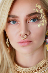 Gold Ethnic Detailed Hoop Septum Nose Ring - Missworldlondon