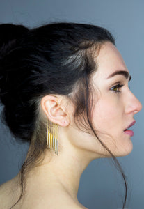 Gold Statement Multi Row Chain Warrior Earcuff - Single - Missworldlondon