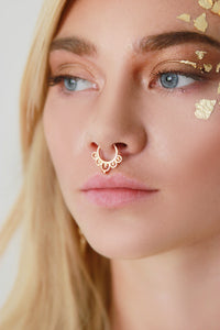 Gold Hollow Cut Out Hoop Septum Nose Ring - Missworldlondon