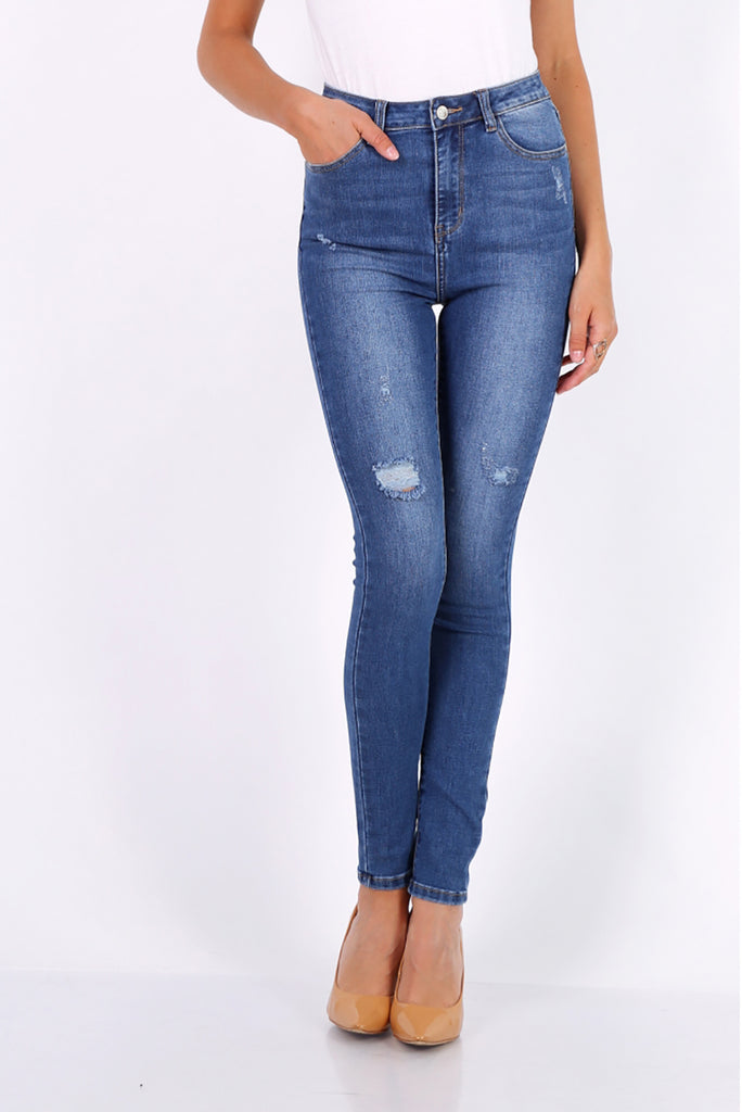Ripped Skinny Jeans in Blue - Missworldlondon