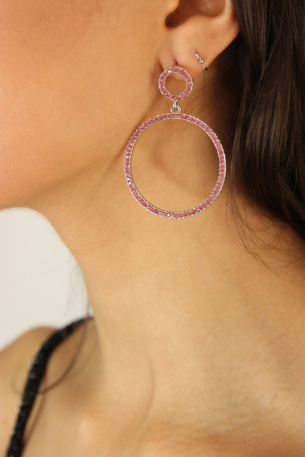 Pink Diamond Hoop Earrings - Missworldlondon