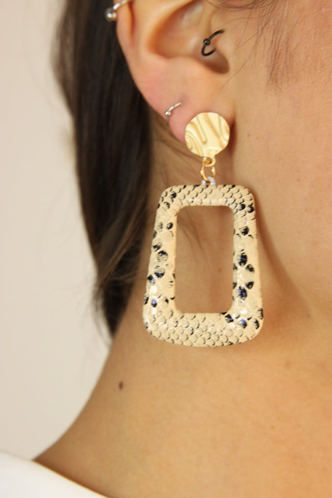 Leopard Print Statement  Earrings-Beige - Missworldlondon