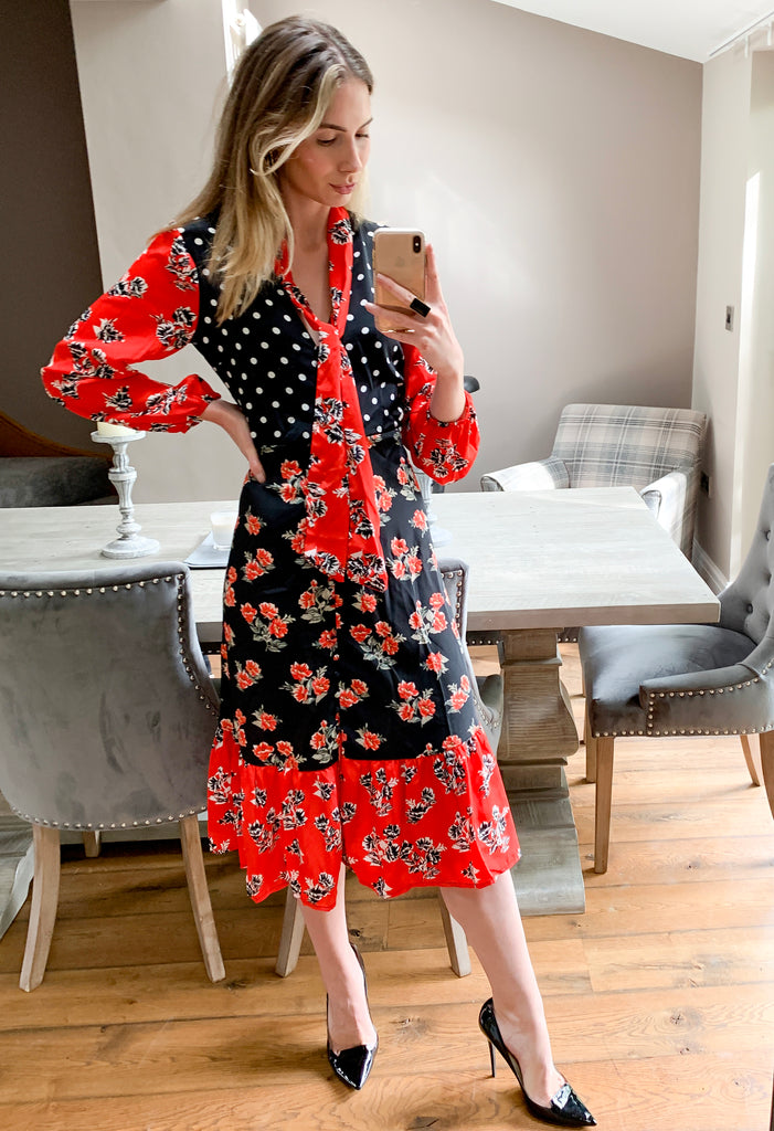 Mix Print Long Sleeve Midi Dress