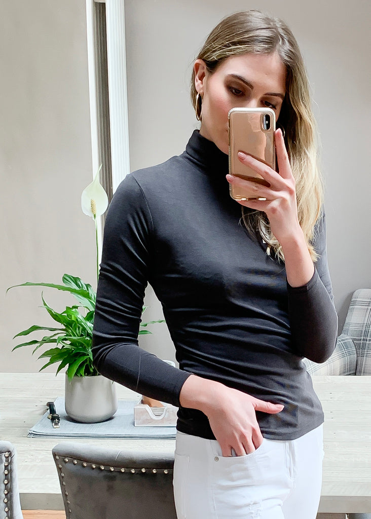 Dark Grey High Neck Fitted Ribbed Top