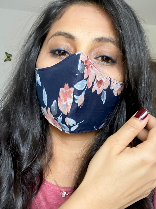 Face Covering Three Layers Reusable Face Mask Flower Printed Navy