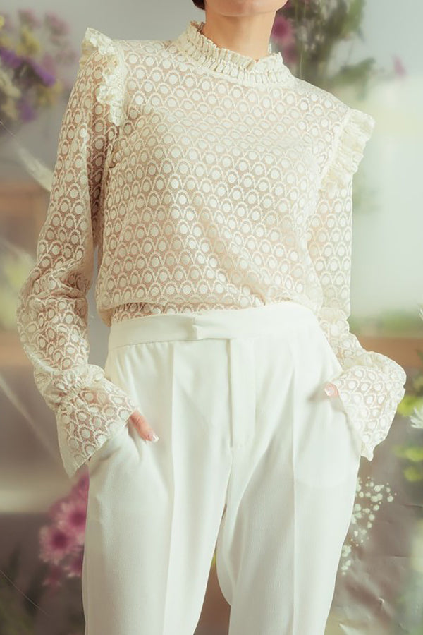 Lace Blouse in Beige - Missworldlondon