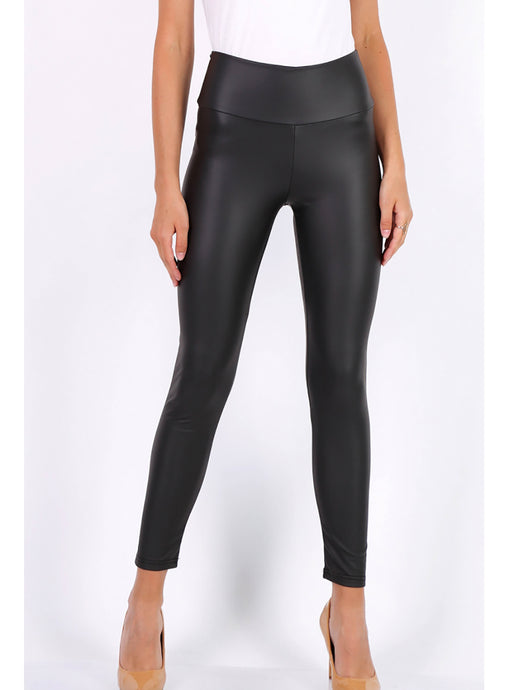 Black Faux Leather High Waist Leggings