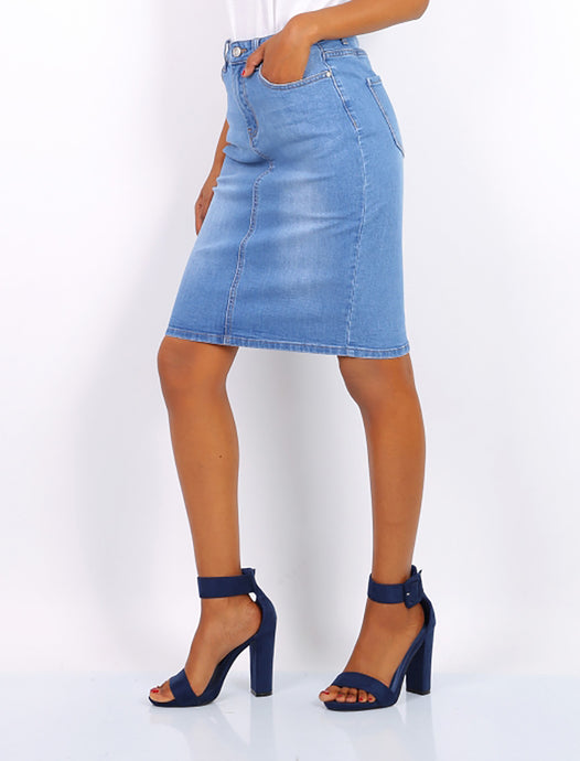 Light Blue High Waist Denim Skirt - Missworldlondon
