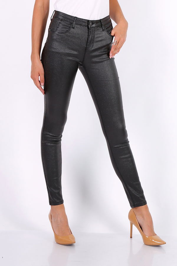 Metallic Black Coated Skinny Jeans - Missworldlondon