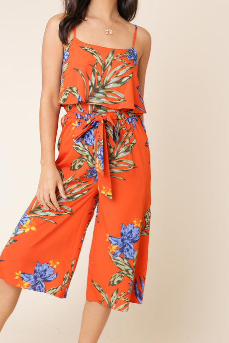 Orange Tropical Print Culotte Jumpsuit