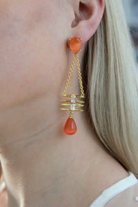 Orange Stone Raindrop Statement Earrings- Gold Finished - Missworldlondon