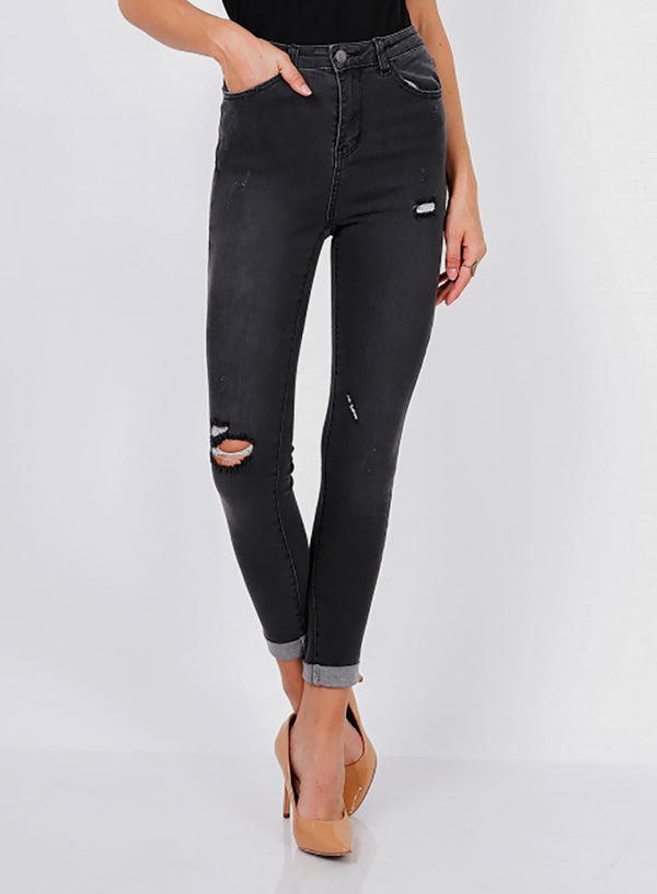 Faded Black Skinny and Highwaisted Ripped Jeans - Missworldlondon
