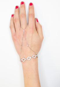 Silver love Diamond Chain Hand Harness - Missworldlondon