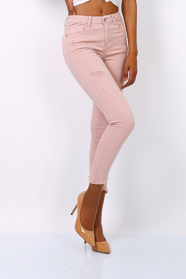 Pink Ripped High Waist Skinny Jeans