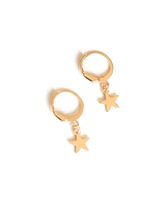 Tiny Star Hoop Earrings- Gold - Missworldlondon