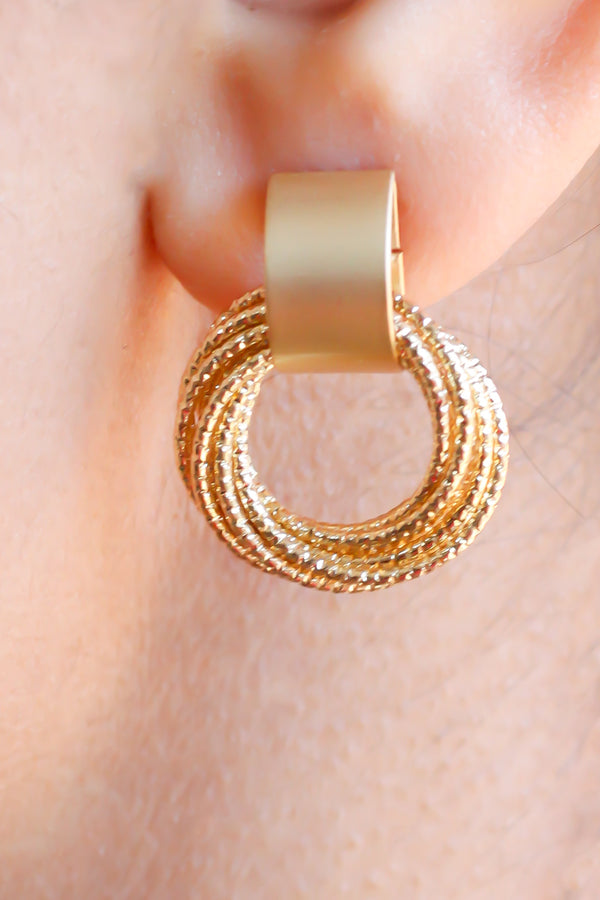 Twisted Stud Hoop Earrings - Missworldlondon