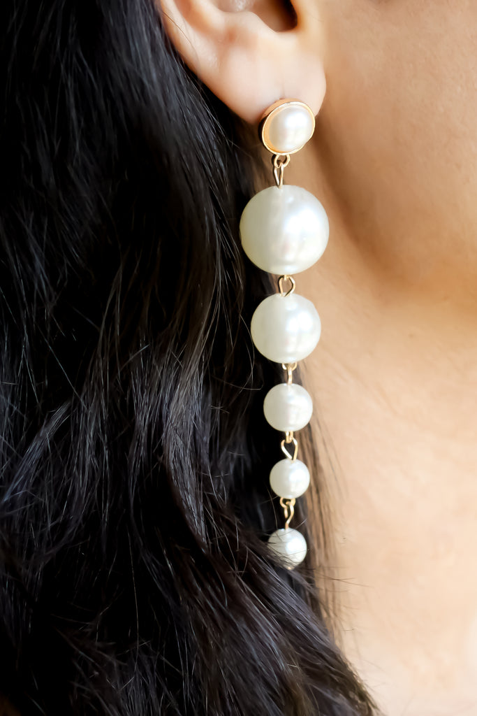 Long Pearl Drop Statement Earrings- White - Missworldlondon