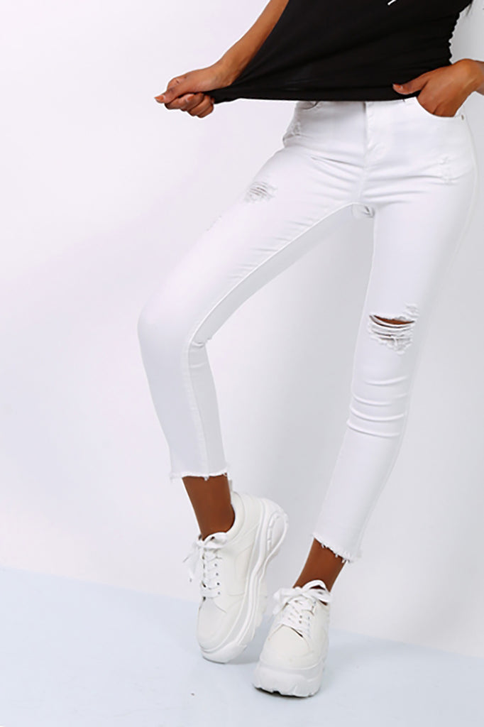 White  Ripped High Waist Skinny Jeans