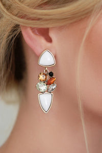 White Statement Earrings - Missworldlondon
