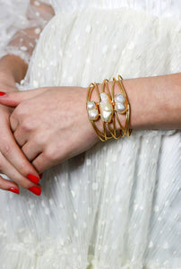 White Opal Statement Cuff Bracelet - Missworldlondon