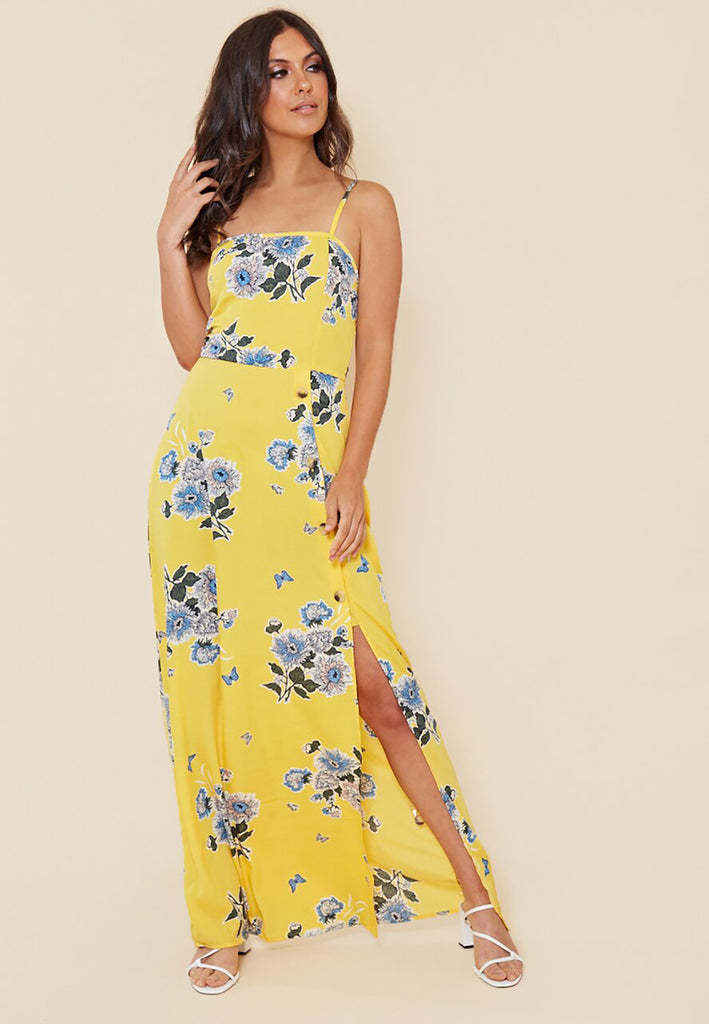 Yellow Flower Maxi Dress