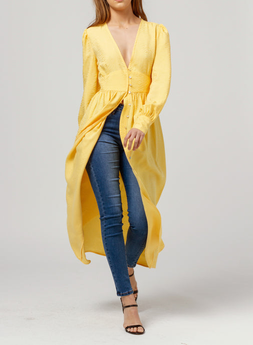 Yellow Long Sleeve Maxi Dress - Missworldlondon
