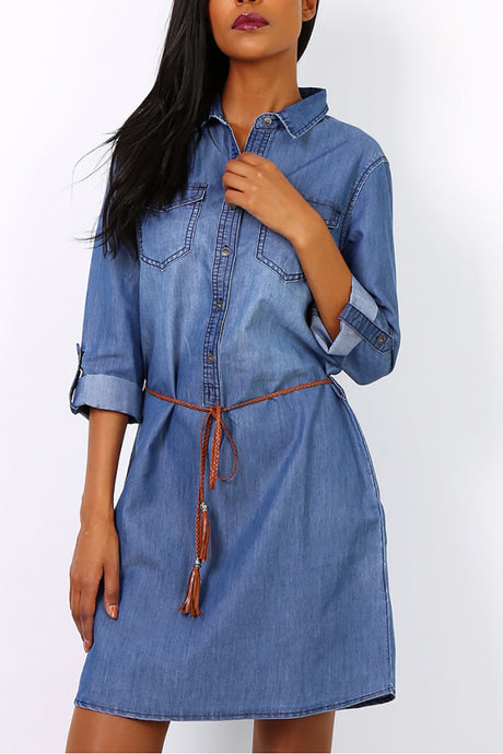 Denim Shirt Style Dress With Belt - Missworldlondon