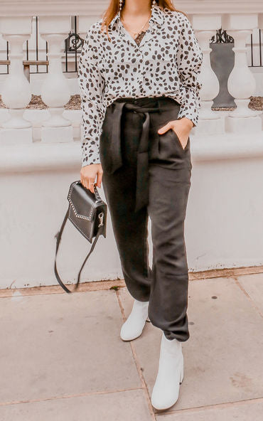 Black High Waisted Smart Trousers