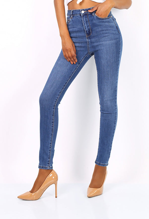 High Waisted Skinny Jeans - Mid Blue - Missworldlondon